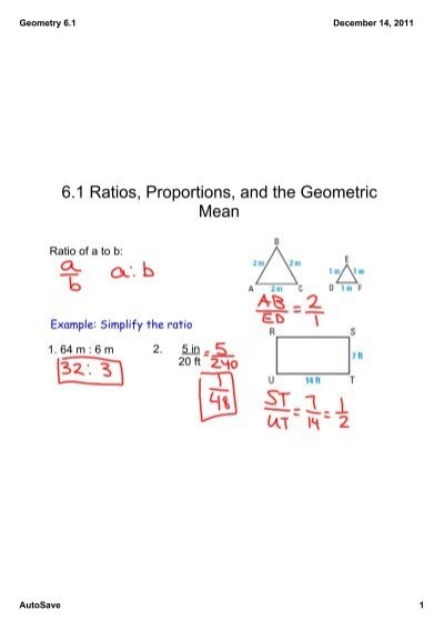 6 1 ratios proportions and the geometric mean - Geometric Mean Worksheet