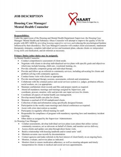 JOB DESCRIPTION Housing Case Manager Mental Health haart – Mental Health Counselor Job Description