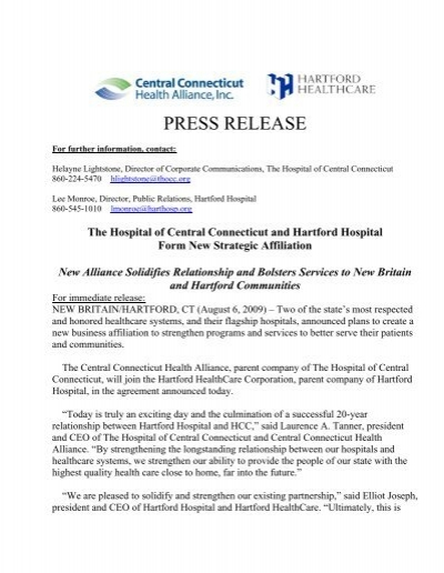 Press Release Hocchhc Agreement 86 Hartford Hospital
