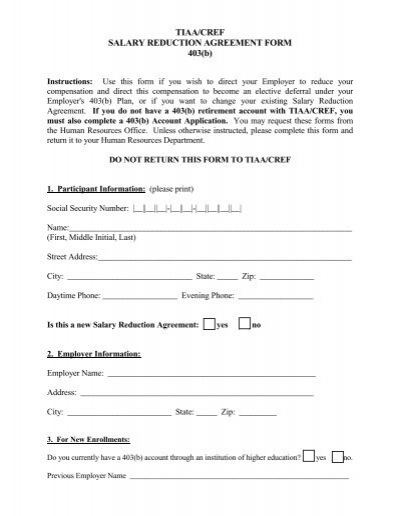 403(b) SALARY REDUCTION AGREEMENT FORM