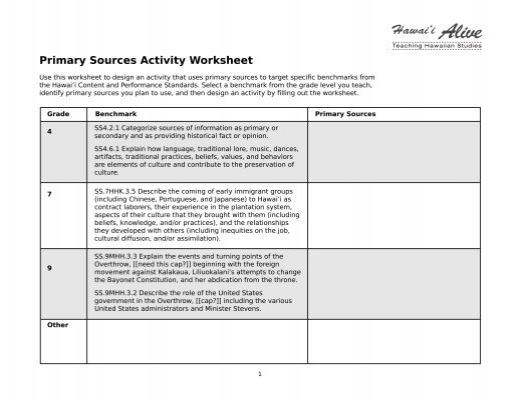 Primary Sources Activity Worksheet Hawaii Alive – Primary Secondary Sources Worksheet