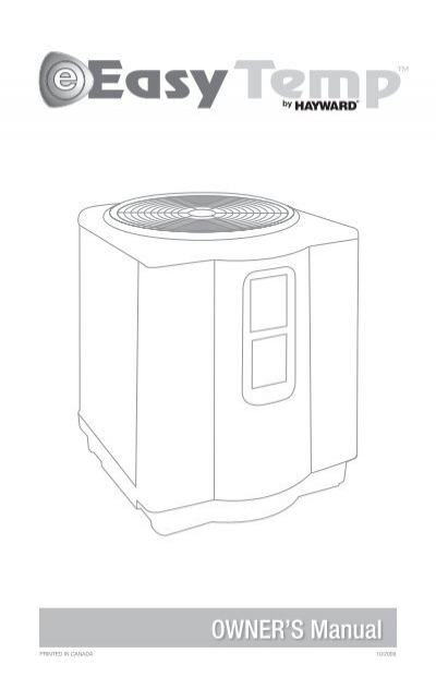 Easy Temp U2122 Heat Pumps  R-410a Models  - Owner U0026 39 S