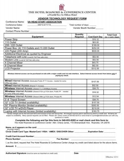 Hotel Roanoke Vendor Request Form  Virginia Head Start