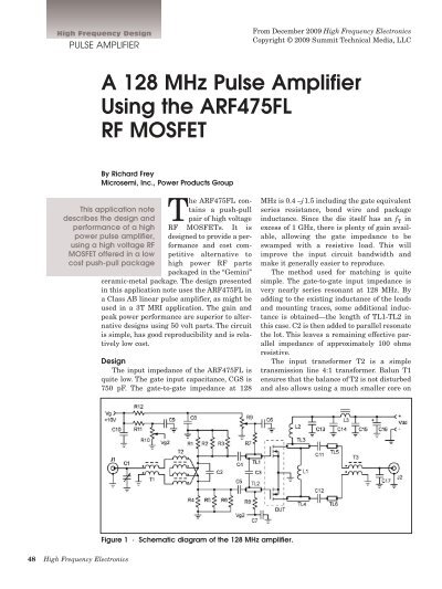 A 128 MHz Pulse Amplifier Using the ARF475FL RF MOSFET