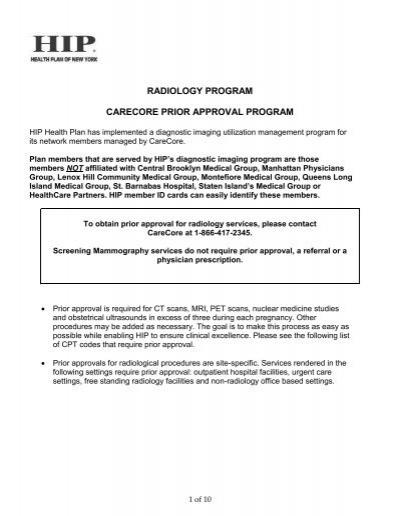 RADIOLOGY PROGRAM CARECORE PRIOR APPROVAL PROGRAM