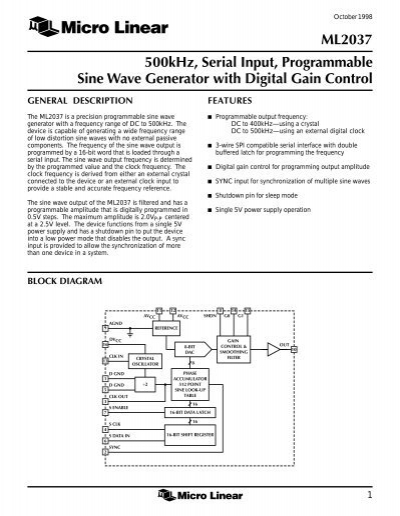 ML2037 500kHz, Serial Input, Programmable Sine Wave