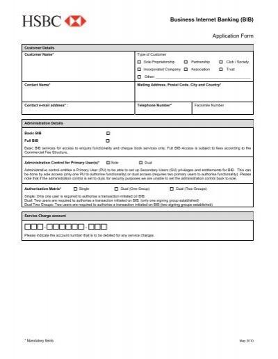 BIB Application Form - HSBC Bermuda