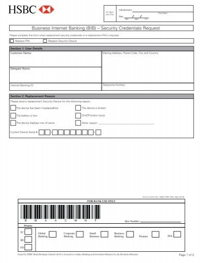 Security Device Request Form - HSBC Bermuda