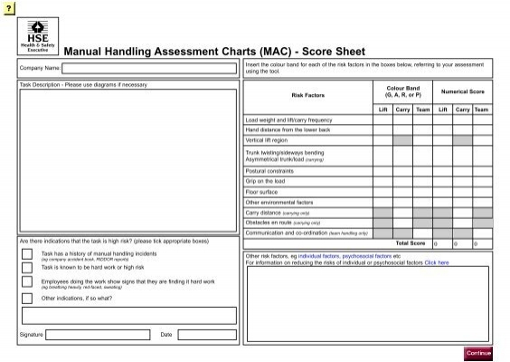 manual handling assessment chard mac tool scoresheet hse
