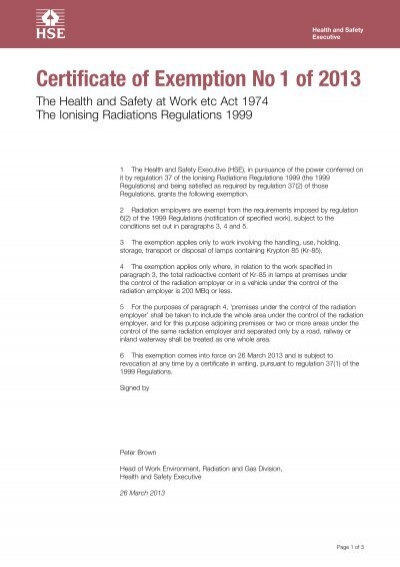 Certificate of Exemption No1 of 2013 - HSE