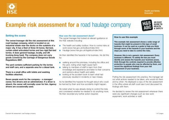 Example risk assessment road haulage company hse maxwellsz