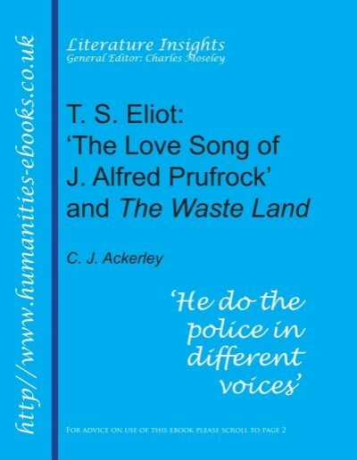 a literary analysis of the love song of j alfred prufrock by t s eliot