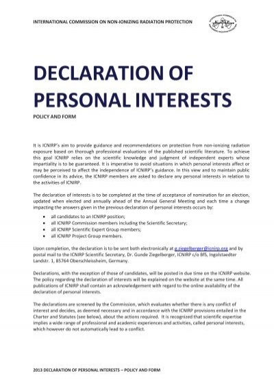 Declaration Of Personal Interest   Icnirp  Personal Interests