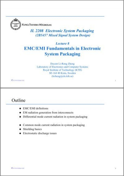Emc Emi Fundamentals In Electronic System Packaging Outline Kth