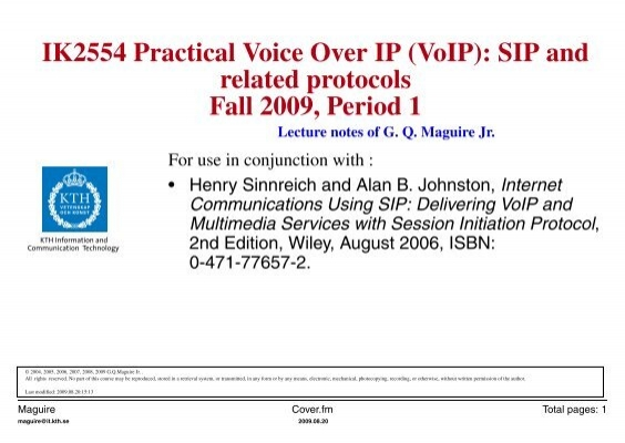 ik2554 practical voice over ip voip sip and related kth