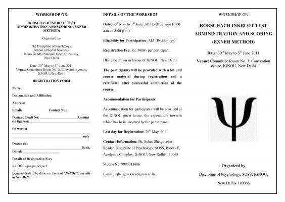 rorschach inkblot test administration and scoring exner ignou rh yumpu com Rorschach Test Jokes Funny Rorschach Test