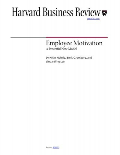 employee motivation literature analysis Motivated employees are one of the key factors that provide competitive advantage for businesses by determining the best way to encourage and boost employee's performance in organizations the management ensures success of their company, on the market field customized employee motivation ie.