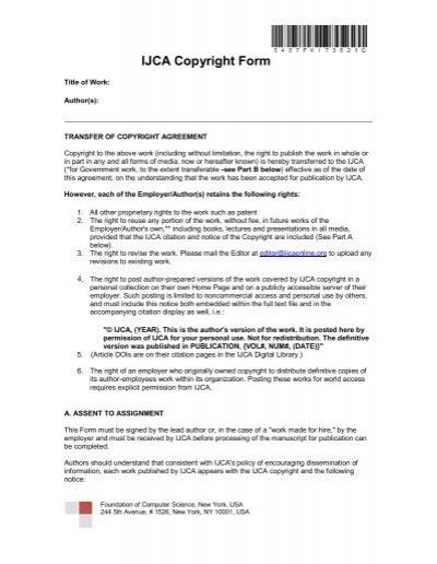 Ijca Copyright Form International Journal Of Computer