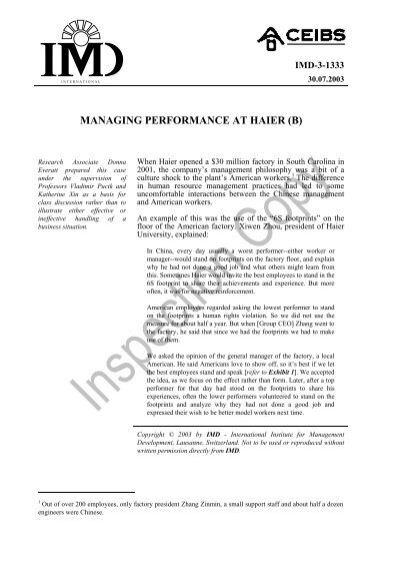 haier performance management a