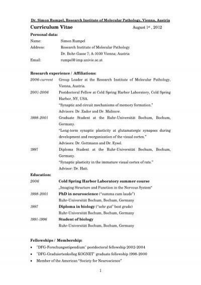 Scientific CV in PDF format - IMP