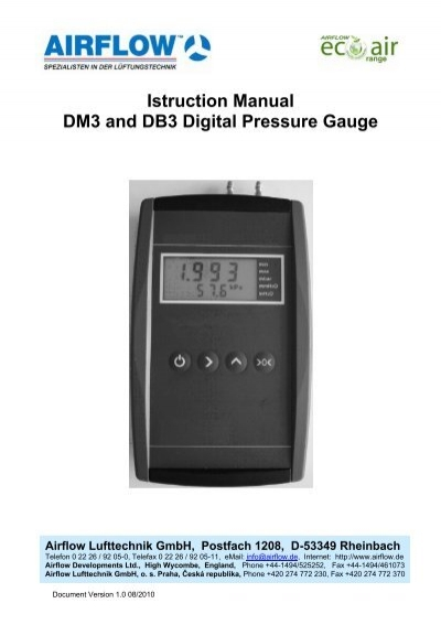 istruction manual dm3 and db3 digital pressure gauge airflow. Black Bedroom Furniture Sets. Home Design Ideas