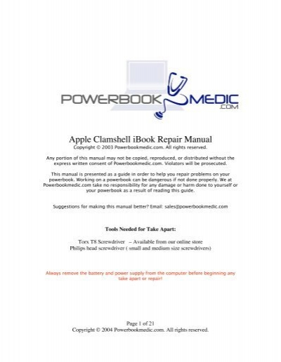 apple clamshell ibook repair manual powerbook medic rh yumpu com iBook G3 Clamshell Colors iMac G3