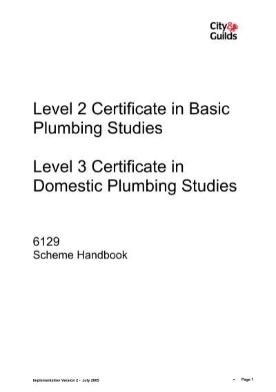 Level 2 Certificate In Basic Plumbing Studies Level 3 City