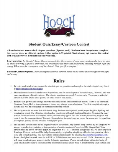 Student Quiz Essay Cartoon Contest