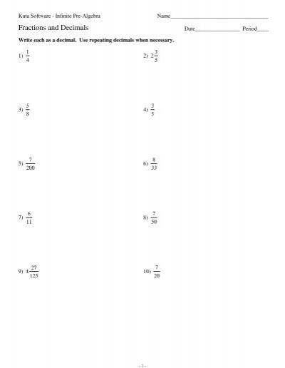 converting between fractions and decimals kuta software. Black Bedroom Furniture Sets. Home Design Ideas
