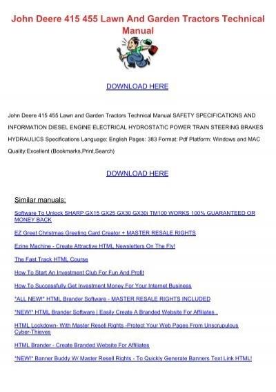 john deere 455 diesel owners manual