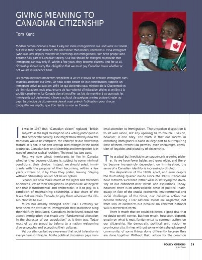 GIVING MEANING TO CANADIAN CITIZENSHIP
