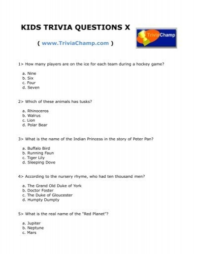 kids trivia questions x trivia champ