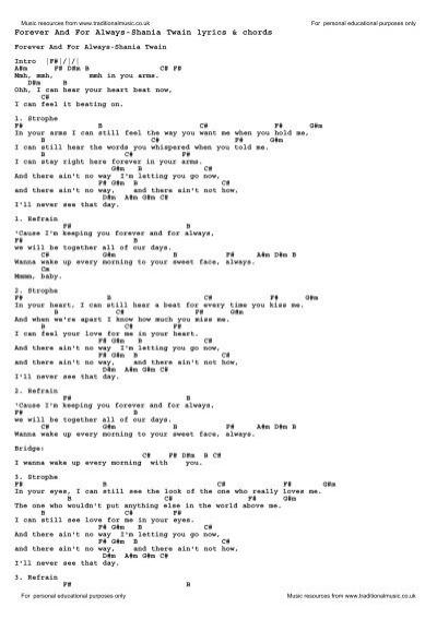 Download Forever And For Always Shania Twain As Pdf File