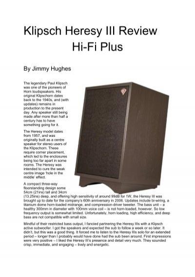 Dating klipsch heresy speakers used