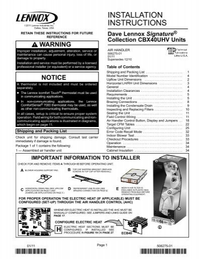 Lennox air handler Installation manual
