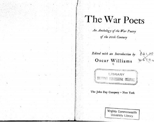 war 20th century poetry In the years between the beginning of the twentieth century and the end of world war ii, american poetry was transformed, producing a body of work whose influence was felt throughout the world.