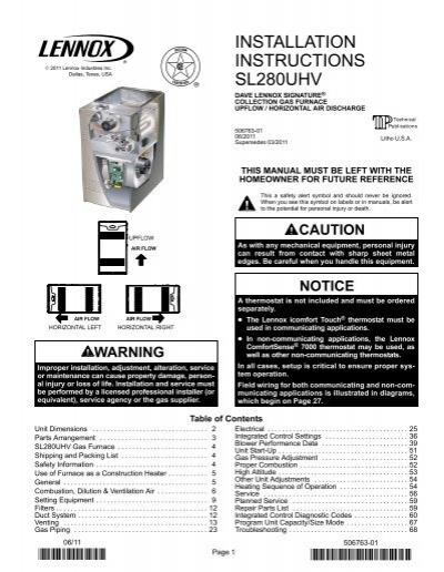 hs26 060 1p gcs16 090 350 2y lennox sl280uhv gas furnace installation manual lennox