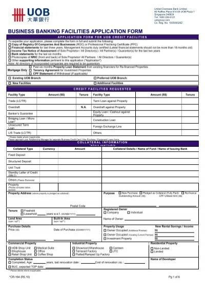 Business Facilities Application Form - UOB