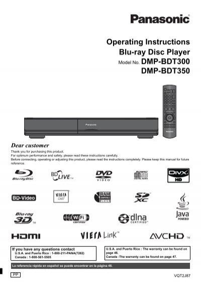 Operating Instructions Blu-ray Disc Player DMP-BDT300 - Panasonic