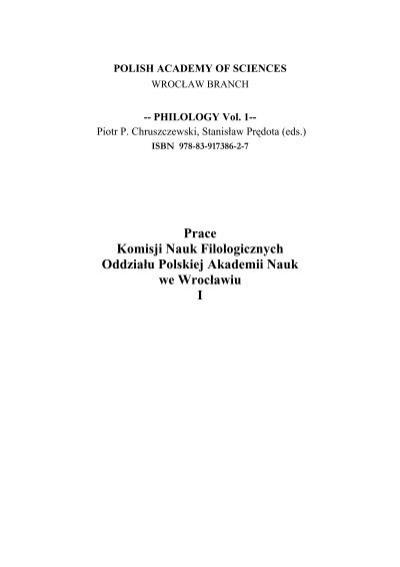 Prace Komisji Naukpdf Instytut Filologii Angielskiej