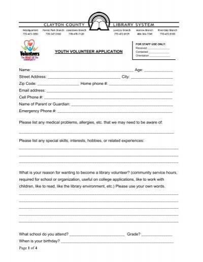 22921904 Volunteer Application Form Public Liry on