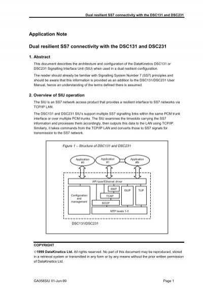 Application Note Dual resilient SS7 connectivity with the
