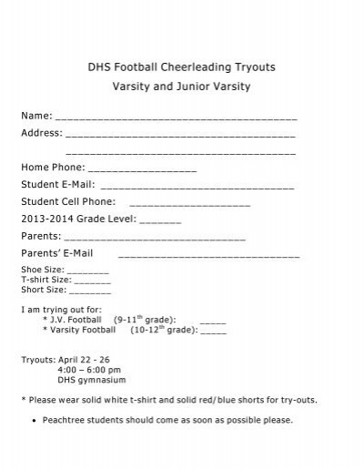 Dhs Football Cheerleading Tryouts Varsity And Junior Varsity Name