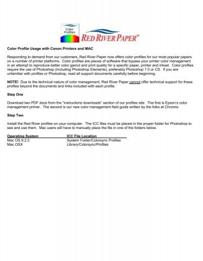 Color Profile Usage with Canon Printers and MAC - Red River