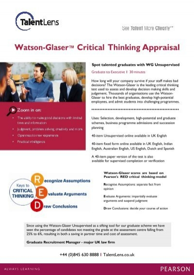 watson critical thinking test