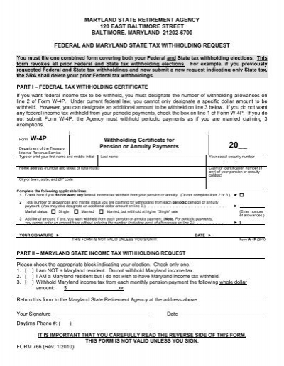 Federal and Maryland State Tax Withholding Request (form 766)