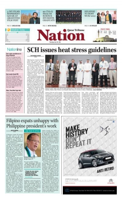 SCH issues heat stress guidelines - Qatar Tribune