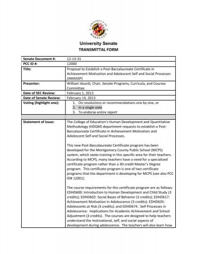 pcc proposal to establish a post-baccalaureate certificate in ...