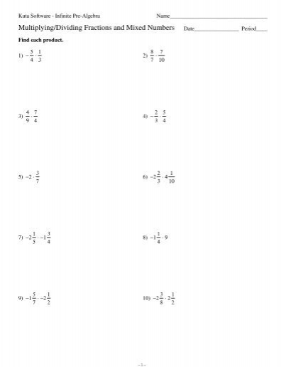 math worksheet : multiplying dividing fractions and mixed numbers  kuta software : Division Of Mixed Numbers Worksheet