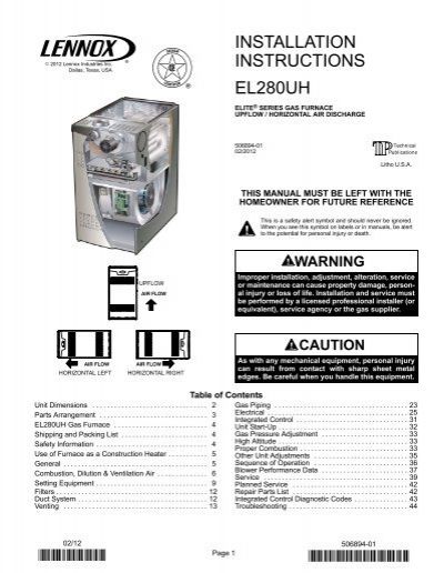 el280uh two-stage gas furnace installation manual